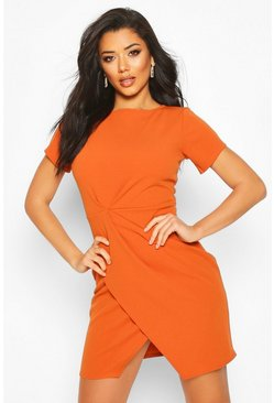 Rust Pleat Front Bodycon Dress