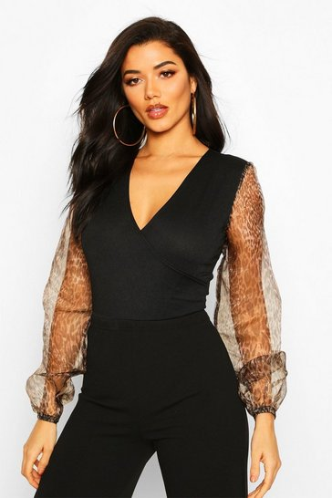 Black Wrap Over Leopard Print Organza Bodysuit