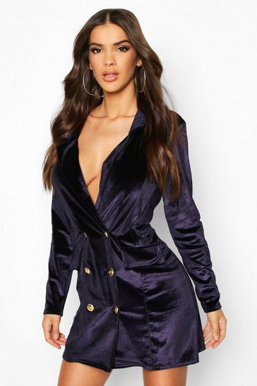 Navy Button Velvet Blazer Dress