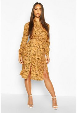 Mustard Animal Print Collar Button Through Belted Shirt Dress