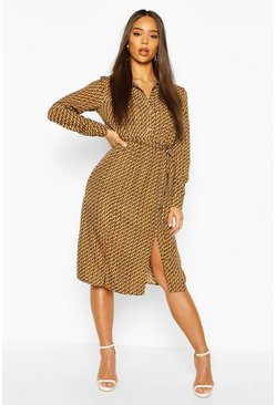 Khaki Geo Print Collar Button Through Belted Midi Dress