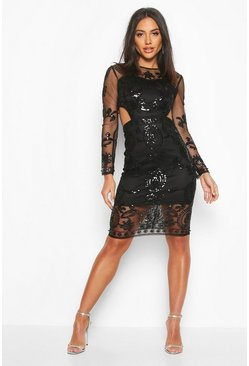 Womens Black Premium Cut Out Detail Beaded Sequin Dress
