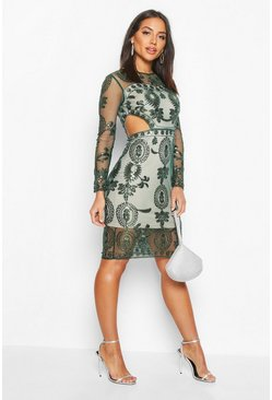 Womens Emerald Premium Cut Out Detail Beaded Sequin Dress
