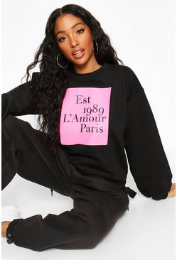 Womens Black French Slogan Colour Block Sweat