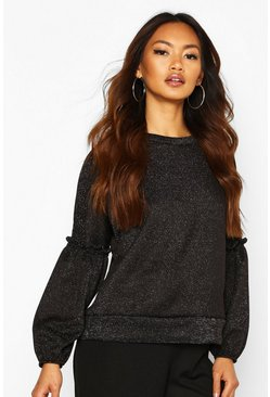 Womens Black Ruffle Puff Sleeve Sweat