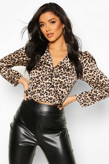 Womens Brown Satin Animal Print Button Through Blouse