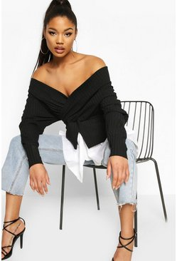Rib Wrap Long Sleeve Shirt, Black
