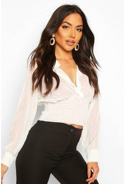 Dobby Spot Shirred Waist Blouse, Ivory, DAMEN
