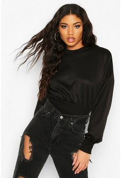 Womens Black Balloon Sleeve Sweat Top