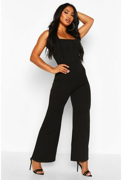 Black Square Neck Hook And Eye Jumpsuit