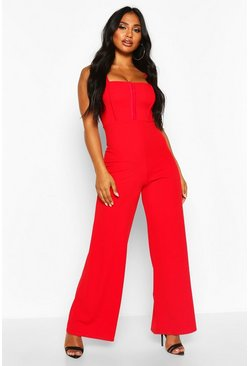 Square Neck Hook And Eye Jumpsuit, Red