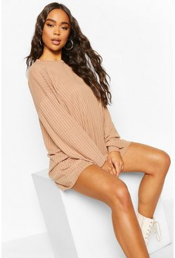 Camel Crew Neck Sweater Dress