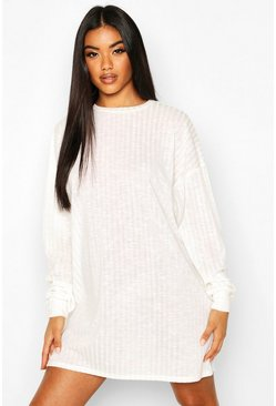 Cream Crew Neck Sweater Dress