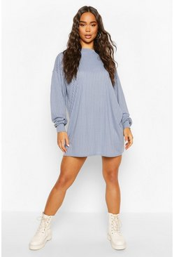 Grey flannel Crew Neck Sweater Dress