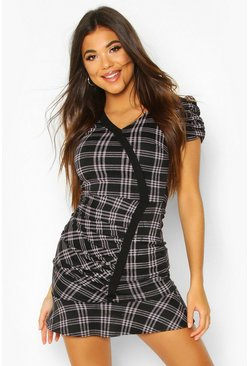 Grey Puff Sleeve Check Dress With Contrast Edge