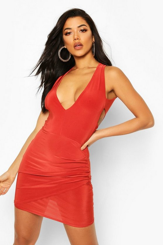Womens Rust Double Lined Plunge Front Dress With Cut Out
