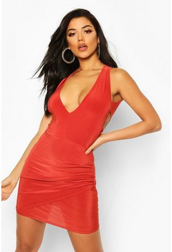 Rust Double Lined Plunge Front Dress With Cut Out