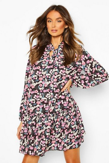 Womens Black Floral Tie Neck Smock Dress