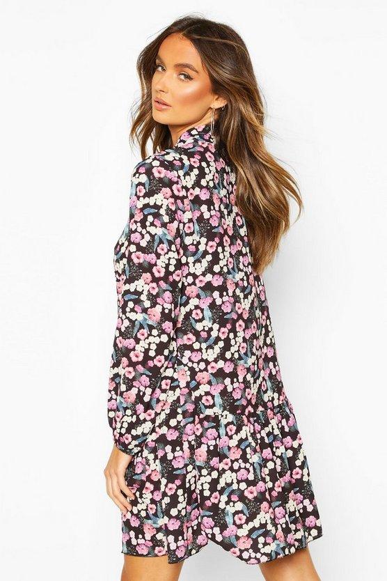 Floral Tie Neck Smock Dress