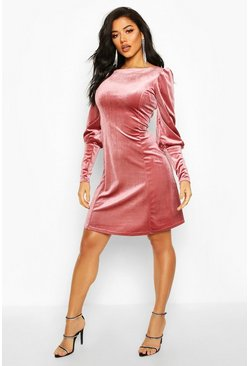 Womens Pink Deep Cuff Fit And Flare Mini Dress