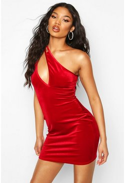 Red One Shoulder Slit Mini Dress