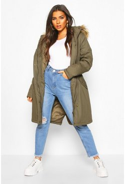 Khaki Faux Fur Trim Synch Waist Parka Coat