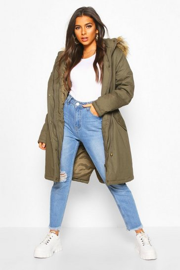 Womens Khaki Faux Fur Trim Synch Waist Parka Coat