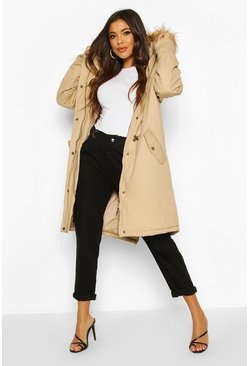 Stone Faux Fur Trim Synch Waist Parka Coat