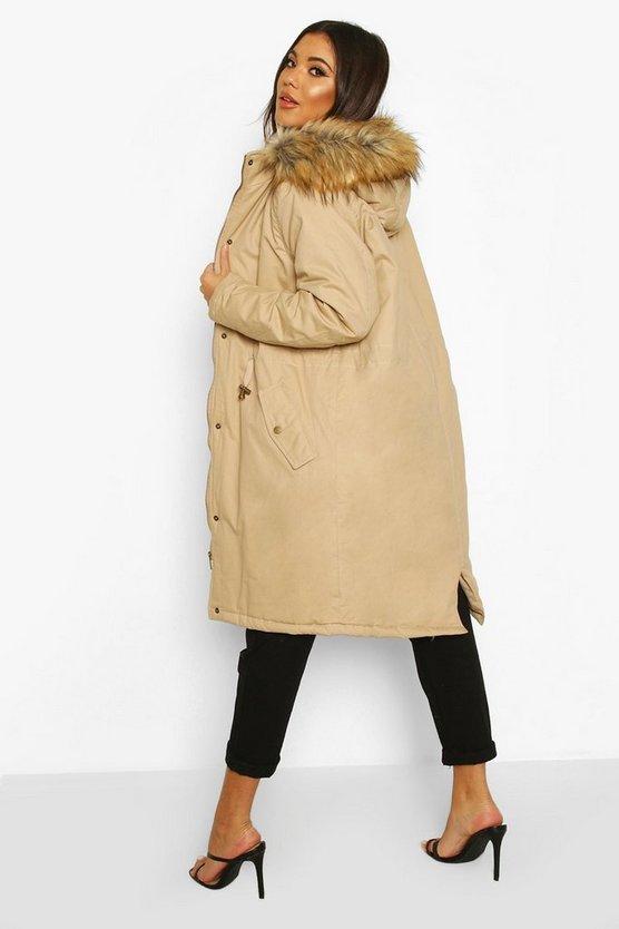 Faux Fur Trim Synch Waist Parka Coat