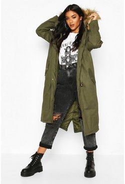 Womens Khaki Faux Fur Trim Hooded Maxi Parka
