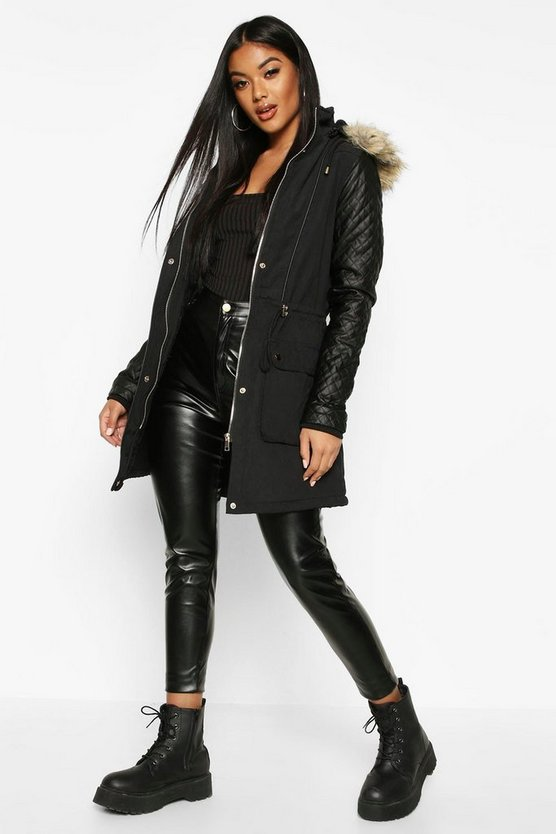 Black Quilted Leather Look PU Sleeve Parka