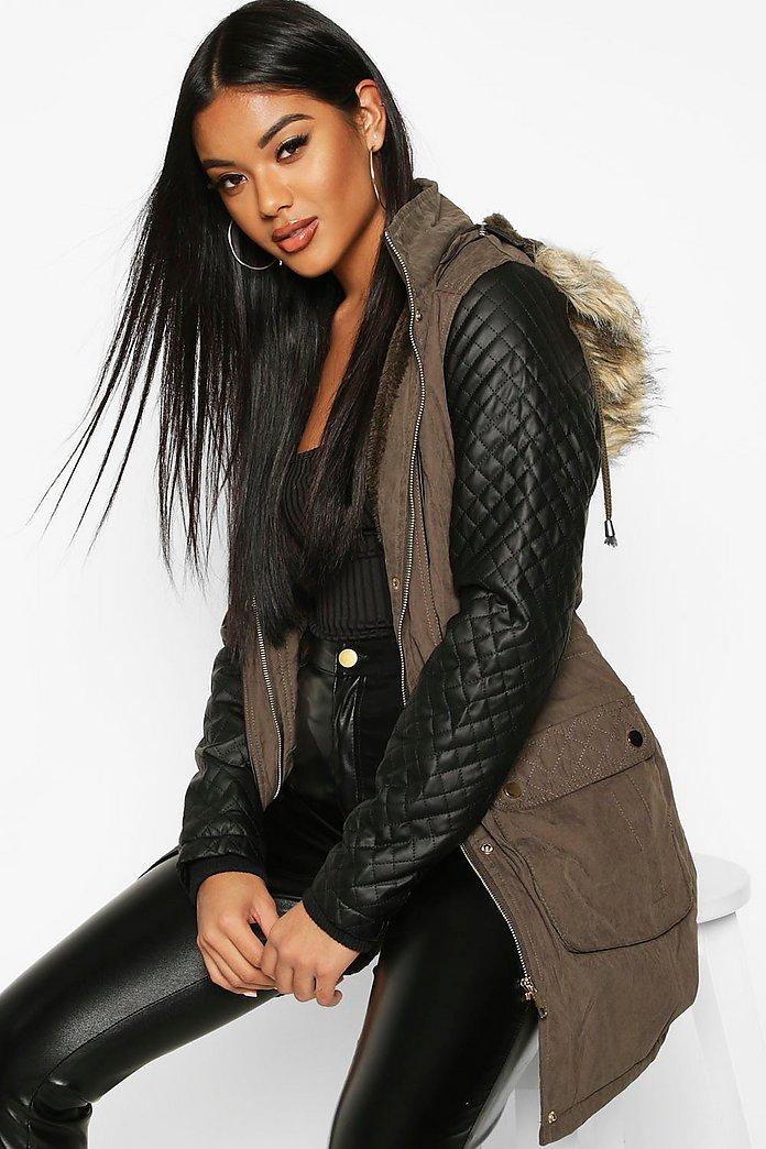 Leather Sleeve Parka