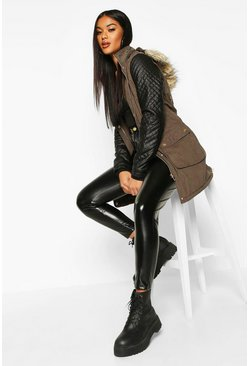 Dam Khaki Quilted Leather Look PU Sleeve Parka