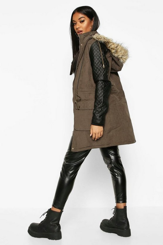 Quilted Leather Look PU Sleeve Parka