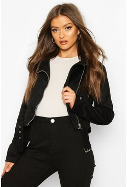 Womens Black Faux Suede Biker Jacket
