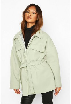 Womens Sage Utility Belted Wool Look Jacket