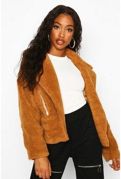 Womens Camel Teddy Faux Fur Biker Jacket