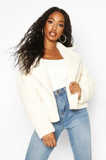 Cream Teddy Faux Fur Biker Jacket
