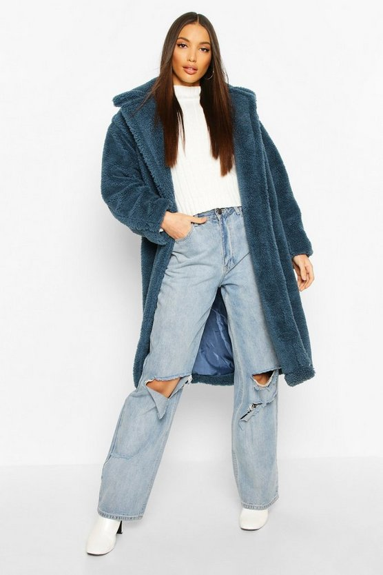 Teal Oversized Teddy Faux Fur Longline Coat