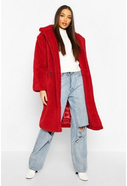 Wine Oversized Teddy Faux Fur Longline Coat