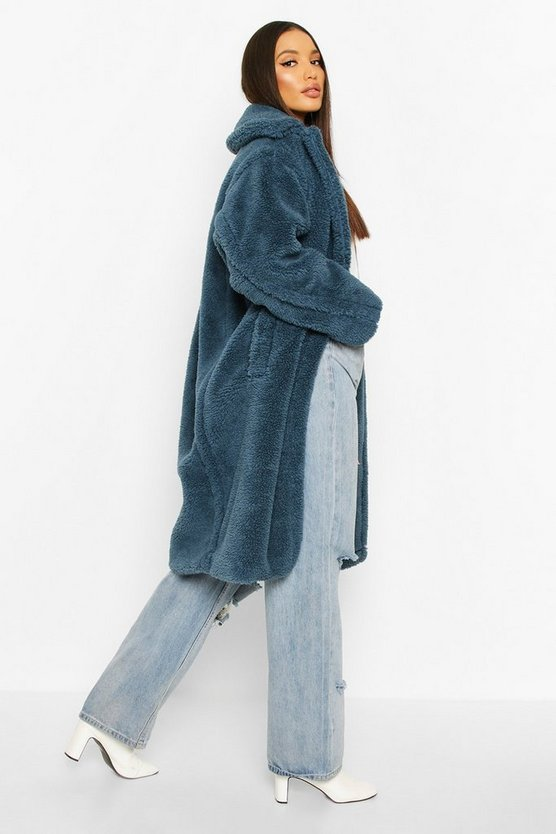 Oversized Teddy Faux Fur Longline Coat