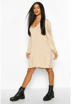 Jersey V Neck Puff Sleeve Mini Dress, Stone