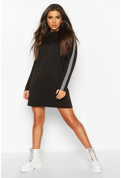 Womens Black Sleeve Trim Shift Dress