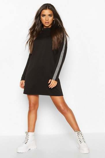 Black Sleeve Trim Shift Dress