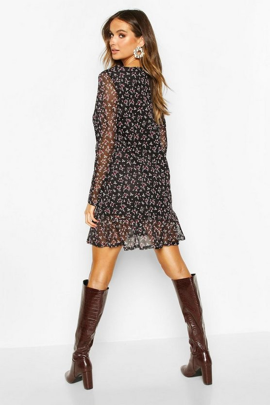 Mesh Floral Print Ruffle Hem Shift Dress