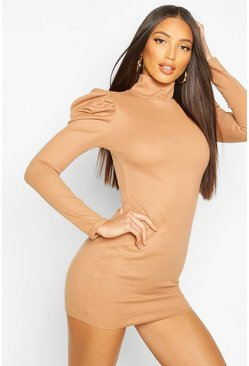 Camel Ribbed High Neck Puff Sleeve Mini Dress