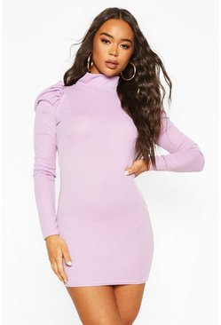 Lilac Ribbed High Neck Puff Sleeve Mini Dress
