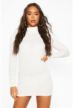 Ribbed High Neck Puff Sleeve Mini Dress, White