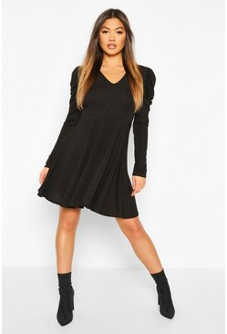 Ribbed V Neck Puff Sleeve Skater Dress, Black