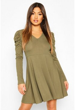 Khaki Ribbed V Neck Puff Sleeve Skater Dress
